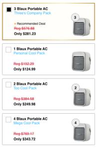 blaux ac prices