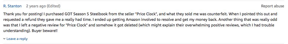 amazon counterfeit reviews
