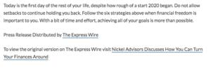 nickel advisors press release