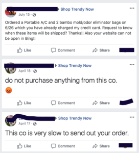 facebook complaints for shoptrendynow