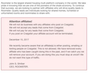 roomster craiglist affiliates