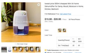 alibaba dehumidifier scam